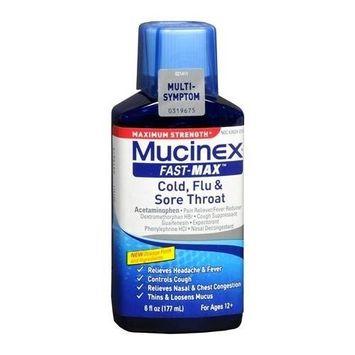 2 Pack - Mucinex Fast-Max Cold, Flu - Sore Throat Liquid 6 oz Each