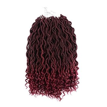 UNA Faux Locs Crochet Hair Braids Wavy Synthetic Hair Extensions Fauxlocs Fiber Braiding Hair Afro Kinky Soft Dread Dreadlocks (18 Inches,6pcs, T1B-118)