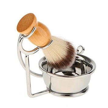 Homyl Salon Barber Shave Set Shaving Soap Mug Bowl with Wooden Beard Shave Brush with Metal Holder Storage