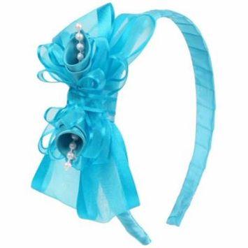 Girls Turquoise Elegant Satin Organza Ribbon Floral Elegant Headband