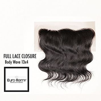EURO REMY Brazilian Virgin 100% Unprocessed Human Hair Extensions - 13x4 Ear to Ear Lace Frontal Closure Free Part - Body Wave - 14 inches Natural