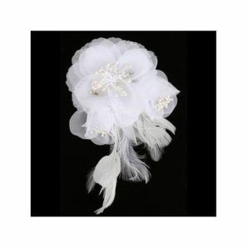 Girls White Feather Flower Bead Rhinestone Communion Flower Girl Headpiece