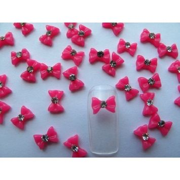 Nail Art 3d 40 Piece Small Hot Pink Bow /Rhinestone for Nails, Cellphones .8cm