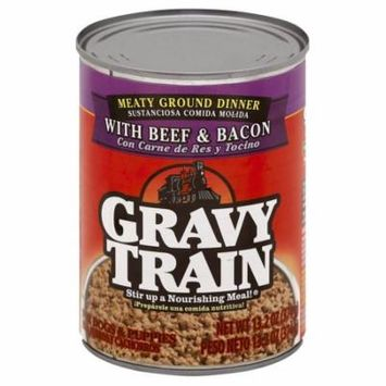 Gravy Train Meaty Ground Dinner with Beef and Bacon Wet Dog Food, 13.2 oz Can