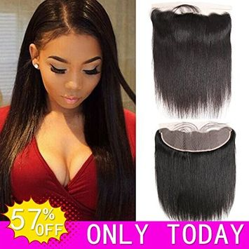 Hvaxing 13x4 inch Ear To Ear Full Lace Frontal Closure Straight Bleached Knots With Baby Hair Unprocessed Free Part Brazilian Virgin Human Hair Extensions(10