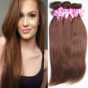 Royal Girl Hair Brazilian Straight Hair 3 Bundles Weft 8A Virgin Human Hair Medium Brown Color Mixed Length(10 12 14inch)