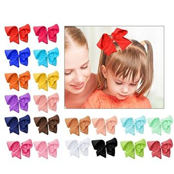 Pretty See Grosgrain Ribbon Bow Hair Clips 6'' Large Boutique Hair Bows for All Ages, 20Pcs/Set