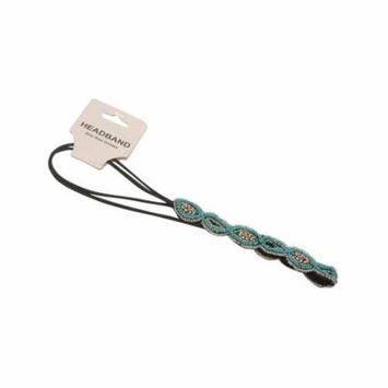 Girls Turquoise Glitter Beads Diamond Style Double Elastic Cord Headband