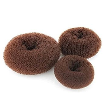 3PCS Brown Women Hair Bun Maker Styler Ring Shaper Hair Former Doughnut Foam Hair Styling(1Large+1Middle+1Small)