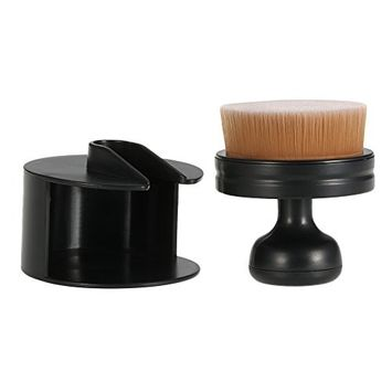 Anself Round Foundation Brush Liquid Cosmetic Blush Brush Women Powder Brush Makeup Tool Black