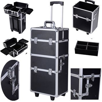 Zimtown New Fashion Pro 3 in1 Aluminum Rolling Makeup Cosmetic Trolley Train Case Wheeled Box Organizer Salon Wheeled