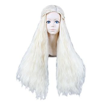 LOUISE MAELYS Womens Long Curly Wig Blonde Wavy Cosplay Wig Party Hair Extension