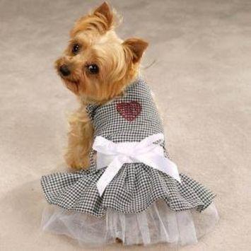 Pet Edge Extra Small Gingham Bling Sundress Dog Dress