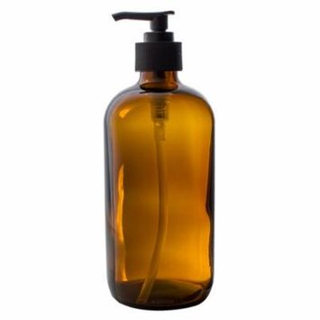 Amber Thick Glass Large 16 oz Boston Round Thick Glass Pump Bottle + Label - Perfect for Home Cleaning