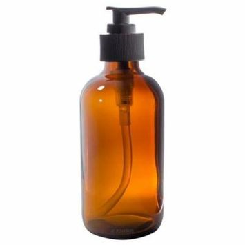 8 oz Amber Boston Round Thick Glass Pump Bottle + Label