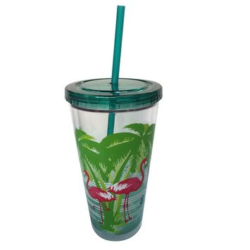 Essential Home 22 Oz. Hydration Tumbler With Straw - Flamingo