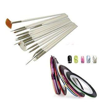 15 Pcs Nail Art Design Painting Polish Brushes Dotting Drawing Pen Manicure Pedicure DIY Tool Set + 10pcs Nail Art Tape Stripe Decoration Sticker Hologram Bundle AOSTEK(TM)