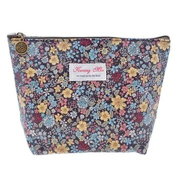 Parateck Floral Print Zipper Cosmetic Makeup Case Pouch Travel Bag Tote, Large