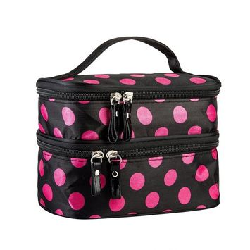 Cosmetic Bag MakeUp Case Double Layer Dot Pattern Portable Waterproof Wear Resistance Durable With 2 Zipper Holder With Mirror Travel Toiletry Bag...