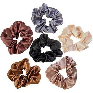 6 Hair Scrunchies/Bobbles / Bands/Holders Set/VAGA Scrunchies for Hair a 6 Color Satin Pack of Hair Scrunchies/Hair ties/Ponytail Holder Headbands for Women