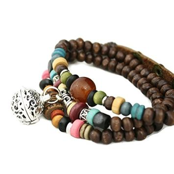 Destination Oils Tribal Wooden Bead Wrap Essential Oil Diffuser Bracelet/ Choker Necklace