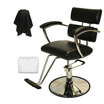 LCL Beauty Contemporary Black Hydraulic Barber Styling Chair with Padded Armrests