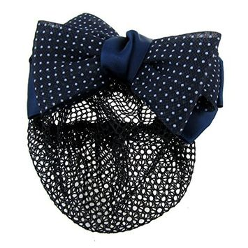 Dotted Bow Barrette - TOOGOO(R) Dotted Bow Barrette Hair Clip Bun Cover Dark Blue White w Net Snood