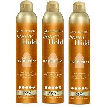 [ PACK OF 3 ] OGX Extra Strength + Honey Hold Mega Hairspray 8 ounce : Beauty
