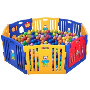 LAZYMOON Baby Playpen Kids 8 Playpen Panel Safety Play Center Yard Home Indoor Outdoor Blue