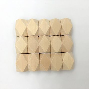 Amyster 100pcs 15mm22 mm(0.59 inch0.866 inch) Large Oblong Geometric Wood Beads DIY Jewelry Supply Wood Crafts