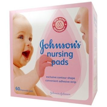 Johnson's Disposable Nursing Pads with Natural Cotton, Super Absorbent, Comfortable, and Breathable, Natural Contour Shape, 60 ct