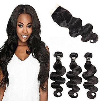 Royal Girl Brazilian Body Wave Human Hair 3 Bundles With Closure 16 18 20+14 8A Virgin Hair Weave With Lace Closure Free Part Natural Black(16 18 20+14)