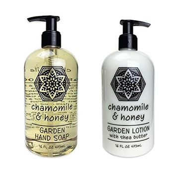 Greenwich Bay Trading Company Garden Collection Bundle: Chamomile & Honey - 16 Ounce Shea Butter Lotion & 16 Ounce Hand Soap