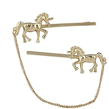 Lux Accessories Gold Tone Unicorn Bobby Pin Chain Connection Set (2pc connected)