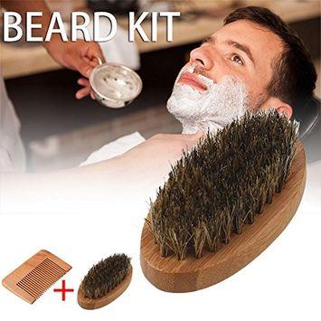 Fdrirect Beard Brush and Beard Comb kit for Men Grooming With Handmade Wooden Comb Set for Men