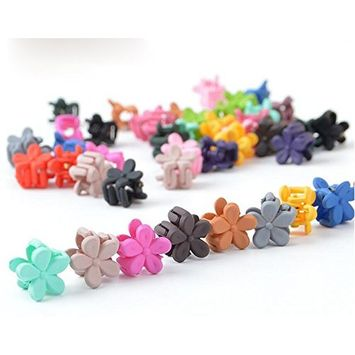 20PCS Colorful Children Mini Plastic Hair Clips-Mixed Colored Baby Girls Flower Hair Claw Styling Accessories(Color Random)