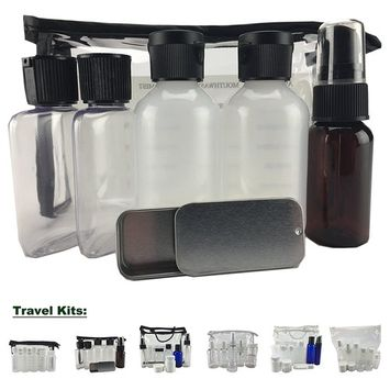Travel Kit, Clear Vinyl Bag, Travel Size Containers, TSA Compliant, Empty Containers (6 Pieces, Assorted Containers, Black Zipper)