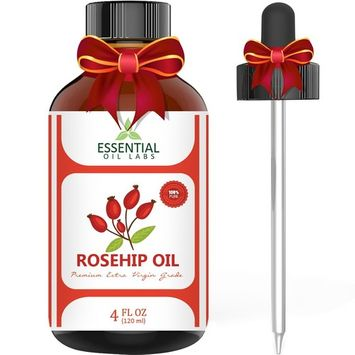 Rosehip Oil - Organic Extra Virgin Grade - Large 4 Ounce Bottle - Ultimate Beauty Companion for Face, Nails, Hair and Skin - with Premium Glass Dropper by Essential Oil Labs