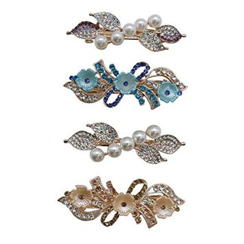 IDS 4 Pieces Fashion Barrette with French Clip Clasp, Beads and Crystals Hair Barrettes Hair Pins for Womens and Girls