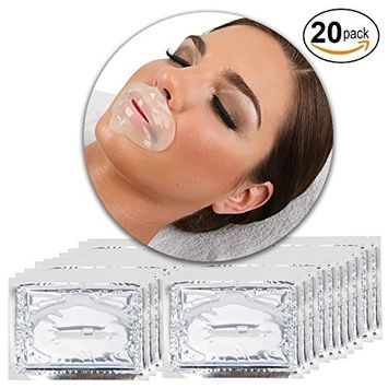 Anti Aging Treatments Set Kit of 20pcs Lips Mouth Clear Transparent Collagen Gel Crystal Masks Patches Sheets for Fine Lines and Wrinkles Removal, Moisturizing Hydration, Skin Firming and Nourishing