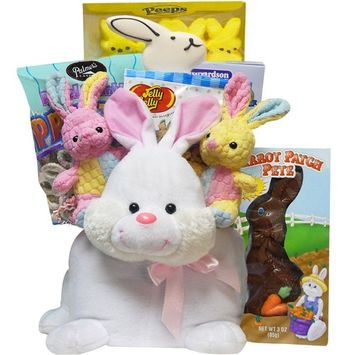 Hippity Hop Plush Easter Bunny Gift Basket of Chocolate and Candy Treats
