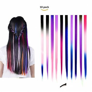FESHFEN Colored Clip in Hair Extensions, Colorful Straight Long Hair Extensions Multi-Colors Party Highlights Clip in Hairpiece for Kids Girls, 16 Pcs 8 Colors 20 Inch