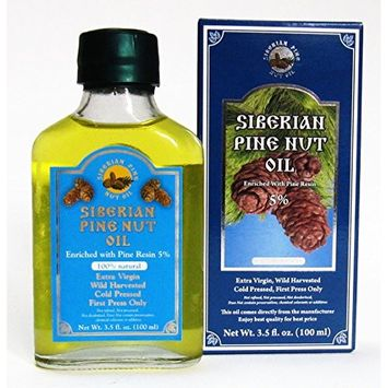Pine Nut Oil Enriched with Pine Resin - 5%. 3.5 Fl. Oz. (100 Ml) Therapeutic Grade, Extra Virgin, Cold-pressed. 100% Natural and Authentic. Pressed From Wild Harvested, Organic, Raw Pine Nuts.