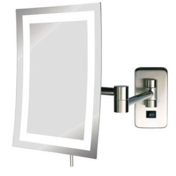 SEE ALL 6 in. x 9 in. Frameless Wall Mounted LED Lighted Single 5X Makeup Mirror in Nickel