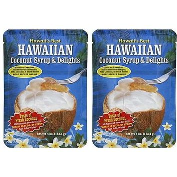 (PACK OF 2) Hawaii's Best Hawaiian Coconut Syrup & Delights 4 oz. : Grocery & Gourmet Food