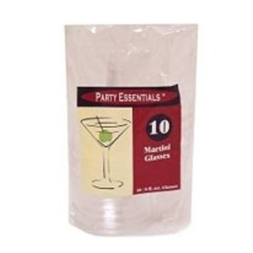 Party Essentials Hard Plastic 2-Piece Martini Glass, 8-Ounce Capacity, Clear