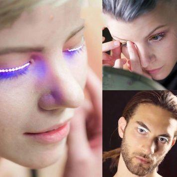 5 Pairs LED Eyelashes, Flash Luminous False Eyelashes Unisex Luminous Fake LED Eyelashes Waterproof Eyelashes For Party For Costume, White Light