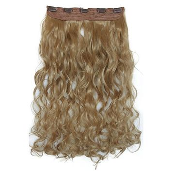 PRETTYSHOP Clip In Hair Extensions Full Head One Piece Hairpiece Wavy Heat-Resisting 27