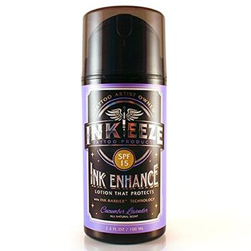 INKEEZE Ink Enhance Daily Tattoo Moisturizing Lotion Cucumber Lavender SPF15 3.3oz Airless Pump [Cucumber Lavender]