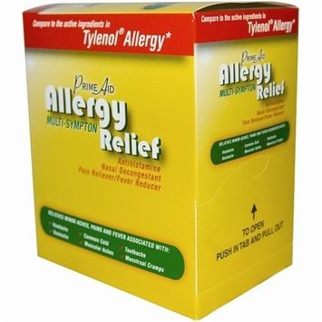 Prime Aid Allergy Relief, compare to Tylenol, 100 count (50 pouches of 2 Tablets each)